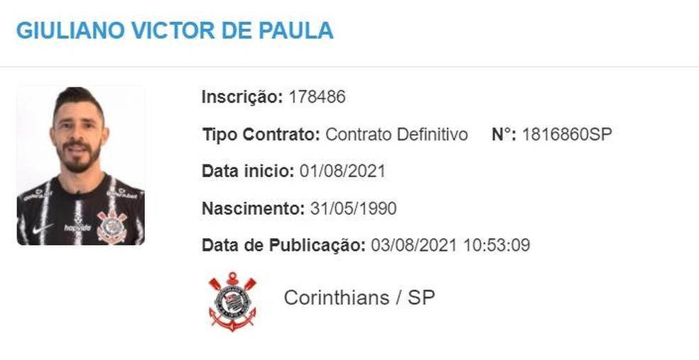 Giuliano aparece no BID e pode estrear pelo Corinthians contra o Santos